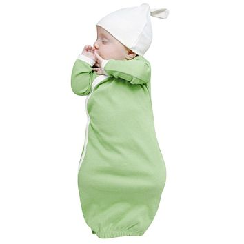 Newborn Toddler Infant Sleeper Gowns Baby Long Sleeve Clothes Bodysuit Sleeping Bag+Hat Outfits One Piece Blanket Sleeper