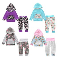 Baby Girls Clothing Set Print Infant Clothes Girls Baby Gift Newborn Girl Clothes Hooded Coat Trousers Infant Clothing Baby set