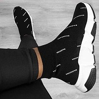 Balenciaga Classic Fashion Woman Men Casual Breathable Sneakers Running Sock Shoes Black I/A