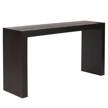 Jennifer Black Wood Grain Veneer Console Table (KD Construction)
