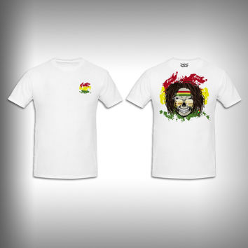 Unisex Short Sleeve Tshirt Custom Full Color Graphics - Rasta Skull