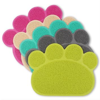Cat Paw Shape Pad Mat Placemat Pet Cat Dish Bowl Feeding Food PVC Mat 30*40cm