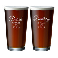 Engraved Beer Glasses - Custom Pint Glasses - Personalized Beer Glass - Name - Date -  Bride/Groom - Couple - Gift - Wedding Glass GW160-161