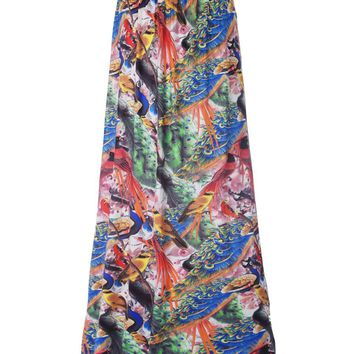 Streetstyle  Casual Colorful Peacock Printed Flared Maxi Skirt
