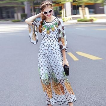 Sequin Pineapple And Dot Printed Chiffon Pleated Maxi Dress