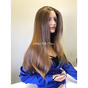 Ombre Strawberry Blonde Voluminous Straight Hair Multi Parting SWISS Lace Front Wig -  Carli cb002-16
