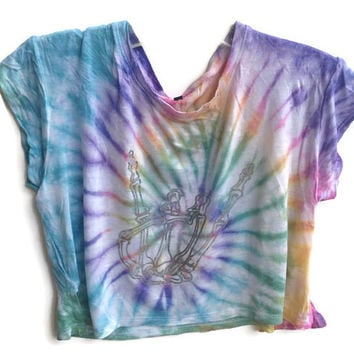 Holographic Skeleton Crop Top Tie Dye Skull Tumblr Hipster