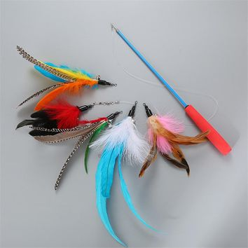 Pet Cat Toy Feather Plastic Ball Funny Cat Stick Colorful Feathers Funny Cat Rods Pet Interactive Toys Automatic contraction