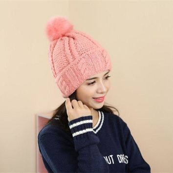 CREYCI7 2016 New Fashion Brand Women Fur Hat For Winter High Quality Knitted Wool Beanies Cap Fluffy Fur Pom pom Hats Casual Caps