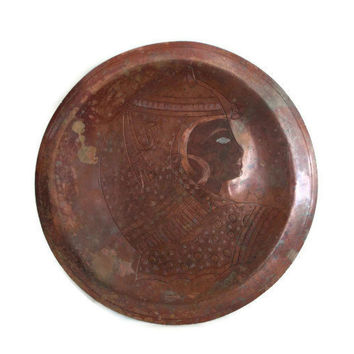 Vintage EGYPTIAN COPPER wall hanging PLATE Egypt deity royalty woman etching Ancient headdress, Age of Pyramids civilization, African decor