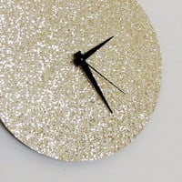 Unique Wall Clock, Gold Glitter Clock, Great Gatsby, Quiet Clock, Home and Living, Decor & Housewares, Living Room Decor, Unique Gift