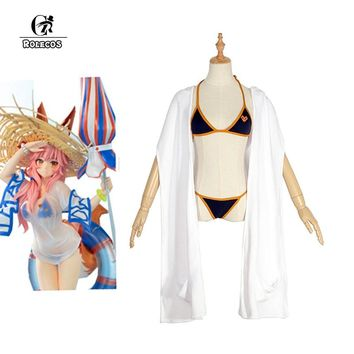 ROLECOS Game Fate Grand Order Cosplay Costume Swimwear Tamamo no Mae Cosplay Sexy Swimsuit Anime Fate Extra Cosplay Swimwear