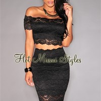 Black Lace Off-The-Shoulder Two Piece Set