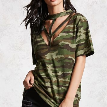 Cutout Camouflage Tee