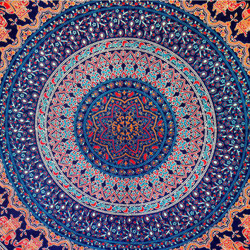 Elephant Hippie Tapestry, Cotton Bedspread Bed Cover, Hippie Mandala Wall Hanging, Boho Ethnic Mandala Tapestry, Indian Dorm Bedspread Throw