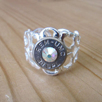 38 Special Bullet Ring Ultra Stong with AB Swarovski Crystal Accents - Small Thin Cut - Girls with Guns