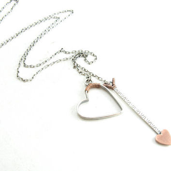 Sterling Silver Heart And Arrow Lariat Necklace Cupid's Arrow Mixed Metal Necklace
