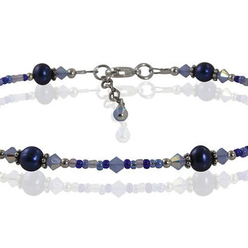 Vibrant Blue Pearl Beaded Anklet