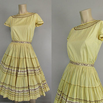 Vintage 50s 60s Squaw Patio Dress Western Indian Rockabilly Swing 2 pc Top and Full Circle Skirt 1950s 1960s Mad Men New Look Square Dance