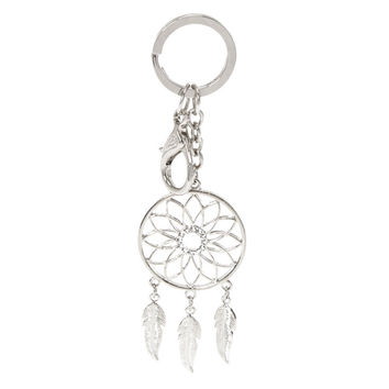 Silver-Tone Dream Catcher Keychain