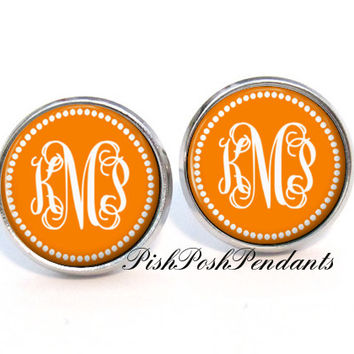 Monogram Earrings -  Orange Stud Earrings - Bridesmaid Gift - Personalized Earrings - Style 550