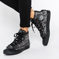 Converse Sparkle Faux Fur Chuck Taylor High Top Trainers