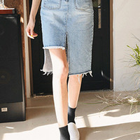 High-Low Frayed Hem Denim Skirt