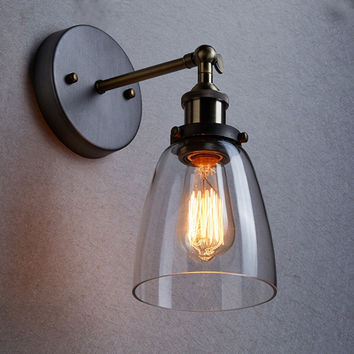 Loft Vintage Industrial Edison Wall lamps Clear Glass Wall Sconce Warehouse Wall Light Fixtures E27 110V 220V Bedside Lighting