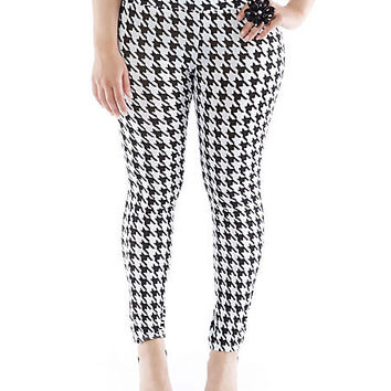 Plus-Size Houndstooth Leggings - Rainbow