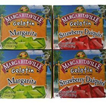 Margaritaville Gelatin Jello 2 Margarita, 2 Strawberry Daiquiri 2.79oz (Pack of 4)
