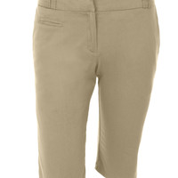 LE3NO Womens Stretchy Capri Cargo Bermuda Short Pants with Pockets (CLEARANCE)