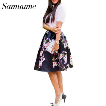 Samuume Vintage 6 Colors Plum Floral Printed Elastic High Waist Satin Skater Skirt Women 2017 Pleated Midi Skirt Saias A148012