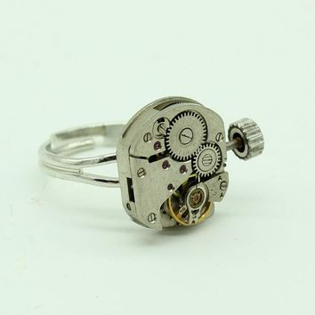 New Men's Steampunk Antique Square Watch Movement  Biker Ring Punk Machinery Jewelry Rings Handmade Gothic