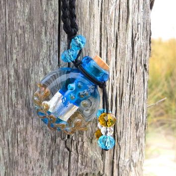 Miniature Blue Glass Beach Bottle Vase With Cork by Wave of Life