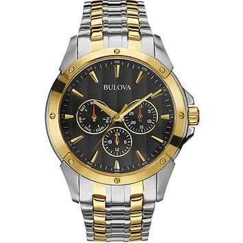 Bulova Mens Classic Collection Watch - Two-Tone - Black Dial - Day/Date Subdials