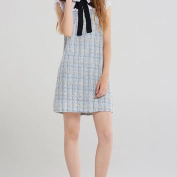 Faye Collar Ribbon Tweed Dress-Skyblue