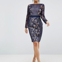 Little Mistress Lace And Mesh Pencil Dress at asos.com