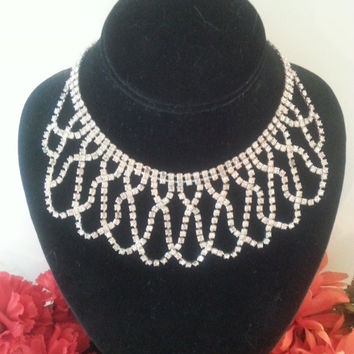 Vintage Rhinestone Bib Necklace - Vintage Statement Necklace - 1960's Statement Jewelry - Black Tie Formal - Vintage Wedding