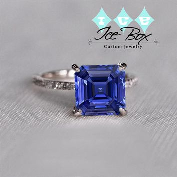 Cultured Asscher Kasmir Blue Sapphire Engagement  Ring -  3.6ct, 8mm Asscher Kashmir Blue Sapphire set in a 14k Rose Gold Diamond Setting