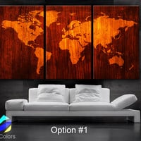 "LARGE 30""x60"" 3Panels Art Canvas Print World Map Wood texture home decor (framed 1.5"" depth)"