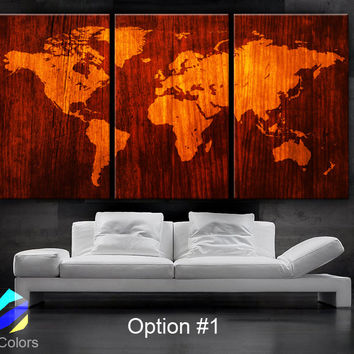 "LARGE 30""x60"" 3Panels Art Canvas Print World Map Wood texture home decor"