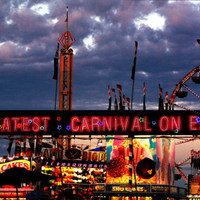 Carnival Midway, Digital Art Print, Home Decor, Ready to Frame Photo, Wall Hanging, Neon Photograph, Ferris Wheel, Night, Sky, Red, Blue