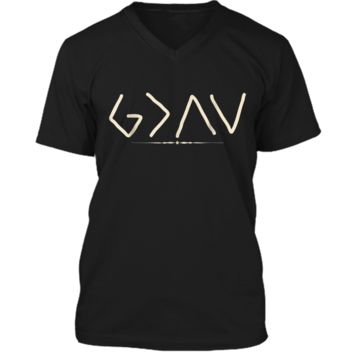 God is Greater Than the Highs and Lows  Mens Printed V-Neck T