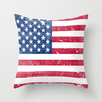 Vintage USA Flag Throw Pillow by RexLambo | Society6