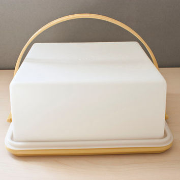 Vintage Square Tupperware Cake Carrier, Harvest Gold with Carrying Handle