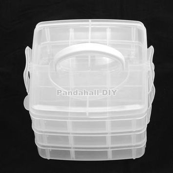 Plastic Bead Containers 3 Layers Rectangle Clear Jewellery Storage Container Total of 18 Compartments155x160x130mm