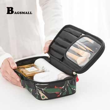 BAGSMALL Portable Travel Kit Waterproof Polyster Toiletry Bags Printing Women Cosmetic Bag Small Makeup Packing Organization