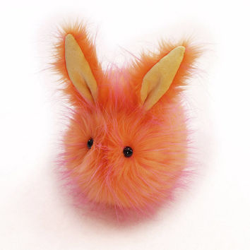 Tang the Tangerine Easter Bunny Stuffed Toy Plushie Faux Fur Rabbit - Large Size