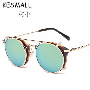 KESMALL Sunglasses Women Man Vintage Steampunk Clip On Sun Glasses Fashion Acetate Frame Eyeglasses UV400 Oculos De Sol YL356