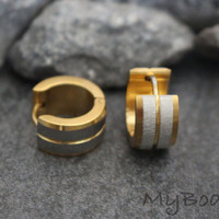 Mens Hoop Earrings, Mens Gold Earring, Gold Huggie Earrings, Tribal Earrings, Stainless Steel Hoop Earrings, Small Hoop Earrings